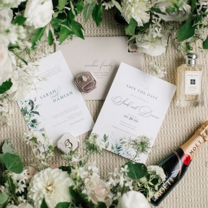 Brooklin Paper Co. featured in Sarah and Damian's European Style Wedding at Magna Golf Club