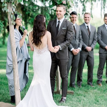 The Marrying Lady featured in Jen and Corey's Utterly Romantic Nuptials at Cambium Farms