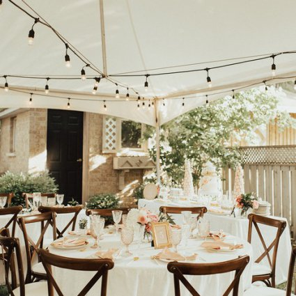 Coquette Studio Floral Design featured in Esther and David's Romantic Backyard Wedding