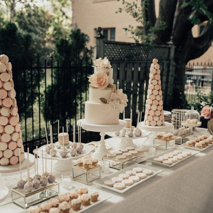 Sweet Philosophy featured in Esther and David's Romantic Backyard Wedding