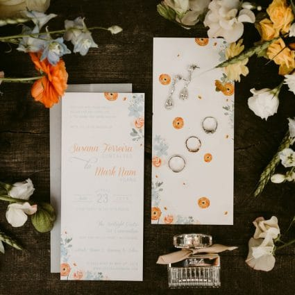 By Design Invitations featured in Susana and Mark's Intimate Fall Wedding at Kortright Eventspace