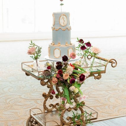 Bloom Cake Co. featured in Claire and Anthony's Elegant Wedding at the Richmond Hill Cou…