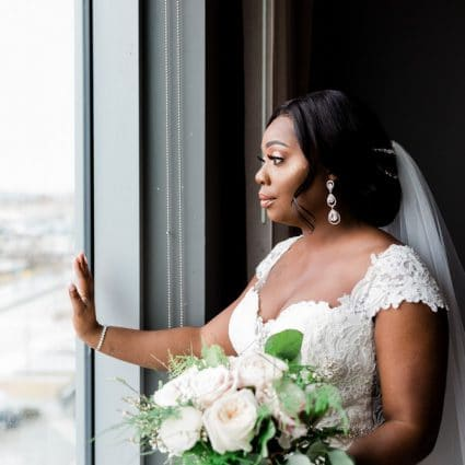 Amanda-Lina's Sposa Bridal Boutique featured in Ruth and Nick's Elegant Wedding at Terrace Banquet Centre