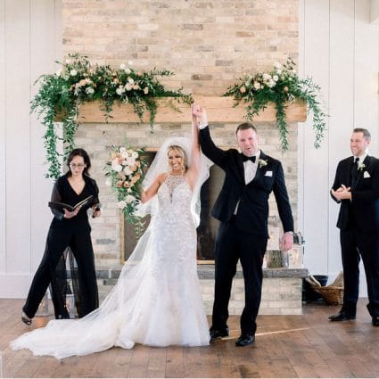 Living Fresh Flower and Plant Studio featured in Amanda and Mark's Stunning Winter Wedding at Elora Mill