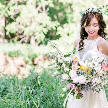 Botany Floral Studio featured in Charmaine and Edmond's Toronto Ravine Elopement