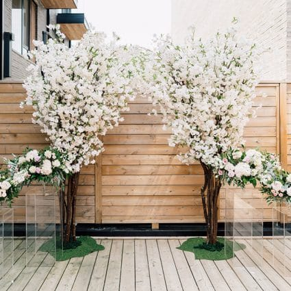 Rebecca Chan Weddings & Events featured in Elva and Jason's Beautiful At-Home Ceremony