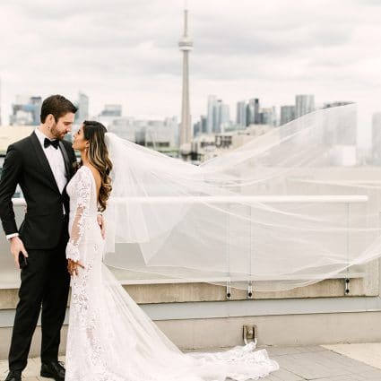 Lindsie Grey featured in Jaspreet and Chris' Cozy-Chic Wedding at 99 Sudbury Event Space
