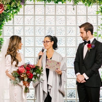 The Marrying Lady featured in Jaspreet and Chris' Cozy-Chic Wedding at 99 Sudbury Event Space