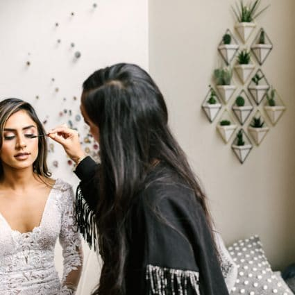 Jen Evoy Makeup Studio featured in Jaspreet and Chris' Cozy-Chic Wedding at 99 Sudbury Event Space
