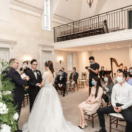 Denise Fung, Harpist featured in Yilin and Alson's Summer Nuptials Amidst the COVID-19 Pandemic