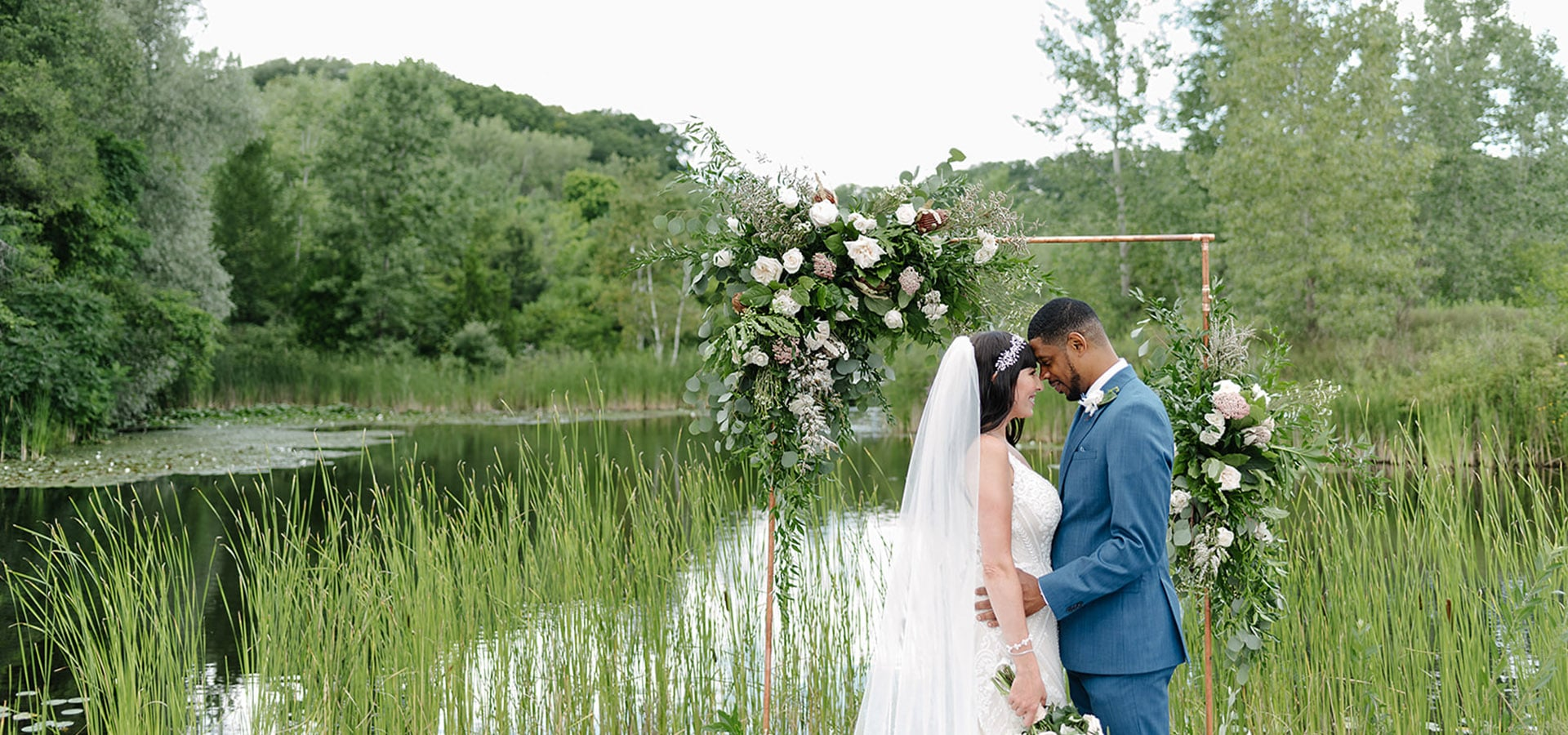 Hero image for Stephanie and Shaki's Tropical Meets Industrial Style Wedding at Evergreen Brick Works