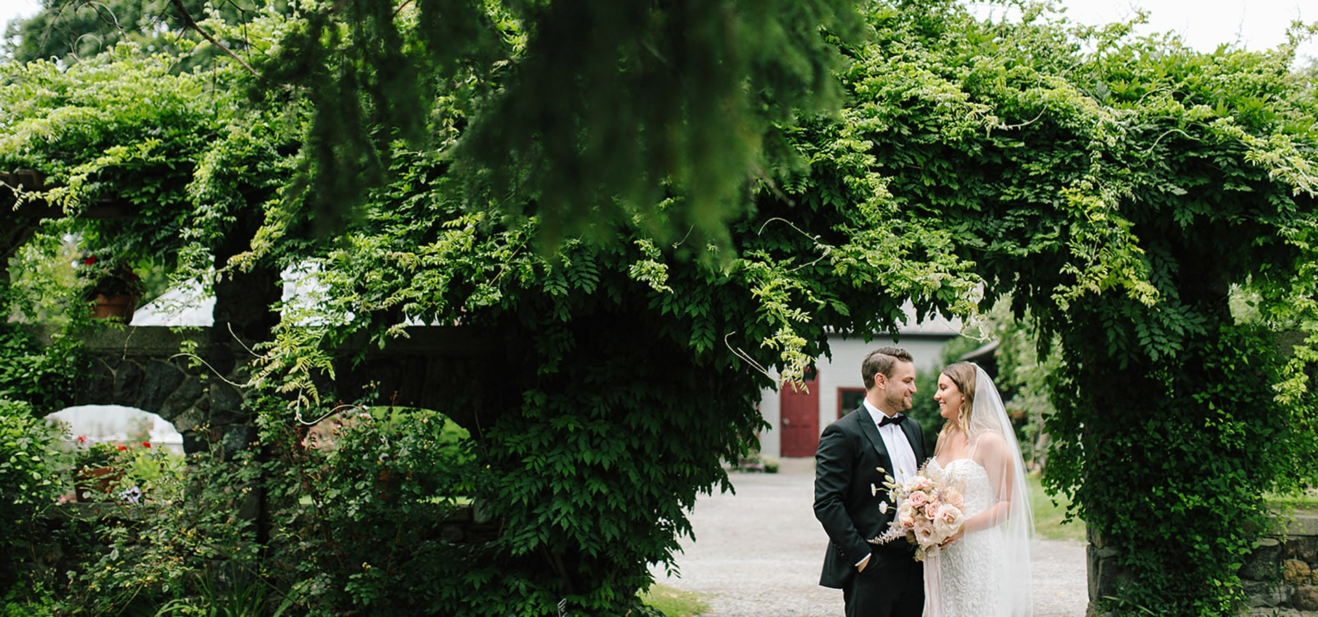 Hero image for Jenna and Rob's Chic Wedding at the Fermenting Cellar