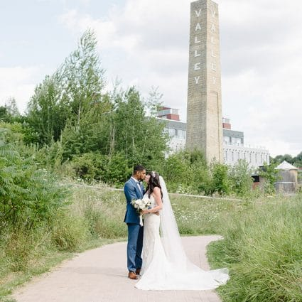 Evergreen Brick Works featured in Stephanie and Shaki's Tropical Meets Industrial Style Wedding…