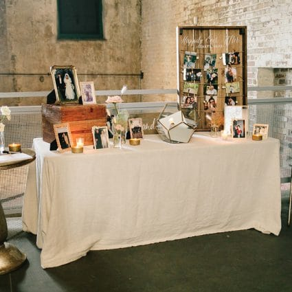 Contemporary Furniture Rentals featured in Jenna and Rob's Chic Wedding at the Fermenting Cellar