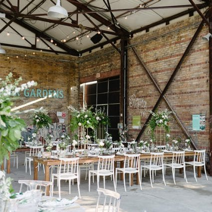 Love by Lynzie Events + Design featured in Stephanie and Shaki's Tropical Meets Industrial Style Wedding…