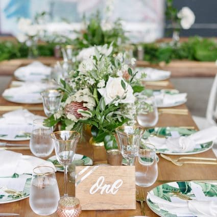 Around the Table featured in Stephanie and Shaki's Tropical Meets Industrial Style Wedding…