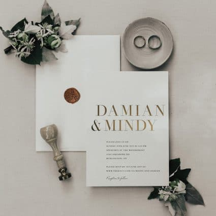 Brooklin Paper Co. featured in Mindy and Damian's Lakeview Wedding at Spencer's at the Water…