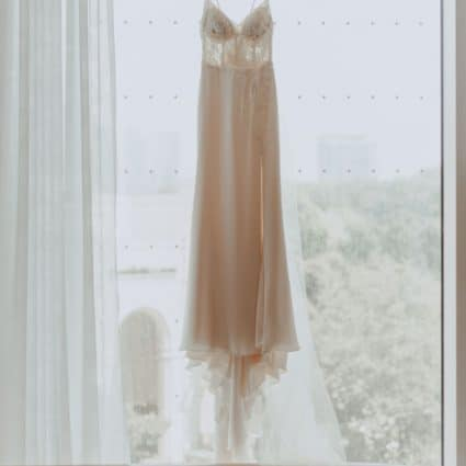 Ferre Sposa Bridal Boutique featured in Corrin and Albert's Rooftop Wedding at Hotel X