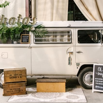 The Photo Bus Booth featured in Shannon and Mike's Romantic Nuptials at Evergreen Brick Works