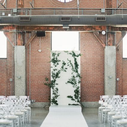 Reznick Event Carpets featured in Jessica and Matt's Bright Big Day at The Symes