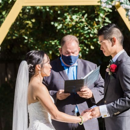Enduring Promises featured in A Colourful Backyard Wedding for Alyssa and Michael