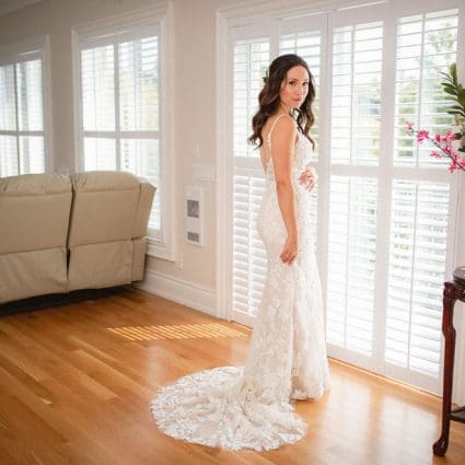 Ferre Sposa Bridal Boutique featured in Anastasia and Daniel's Palais Royale Micro Wedding