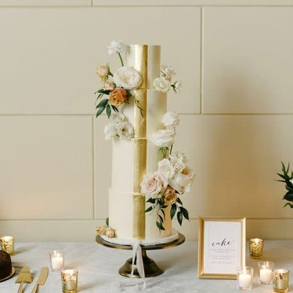 Love in Bloom Cakes featured in Dina and Chris' Elegant Wedding at the Windsor Arms Hotel