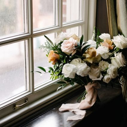 Bellwood Blooms featured in Dina and Chris' Elegant Wedding at the Windsor Arms Hotel