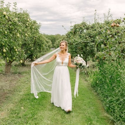 Sash & Bustle featured in Nina and Dan's Sweet Barn Wedding at Stonewall Estates