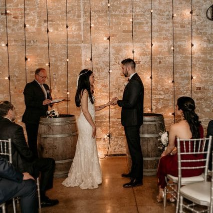 Enduring Promises featured in Pam and Marco's Cozy Wedding at The Loft in The Distillery Di…