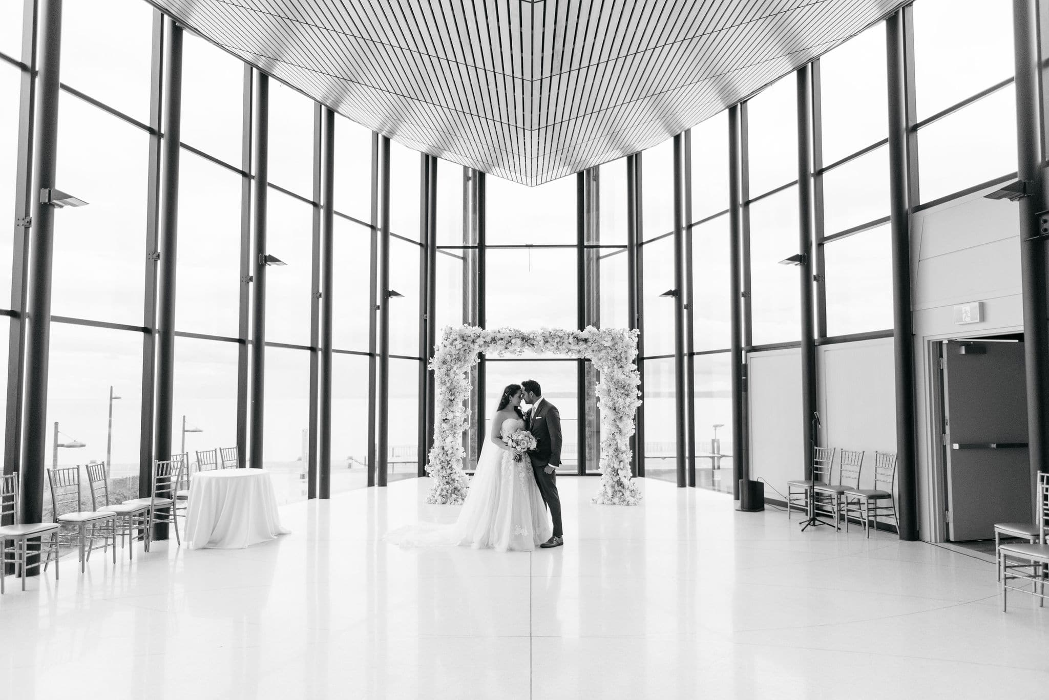 Hero image for Maggie and Sunil's Sweet and Simple Wedding at Spencer's at the Waterfront