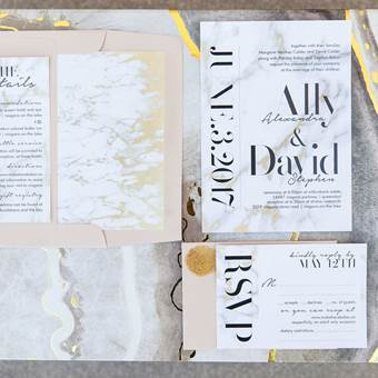 Marble and Gold Modern Invitation