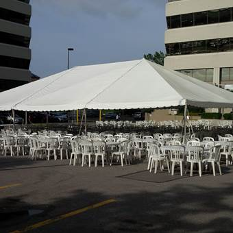 Frame Tent in Parking lot for BBQ