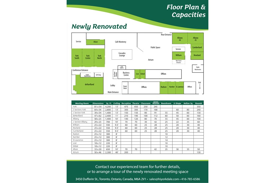 Floor Plan & Capacity Chart