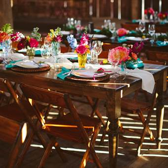 Harvest Tables and Vintage Wooden Chairs