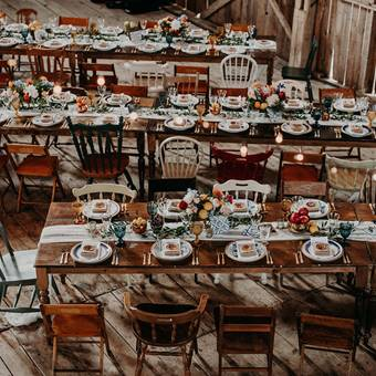 Harvest Table and Farmhouse Mismatched Chairs
