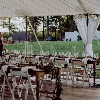 Harvest Tables and Shabby Chic Chairs Tent