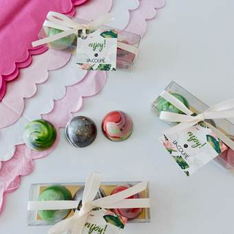 Box of 3 hand painted bonbons