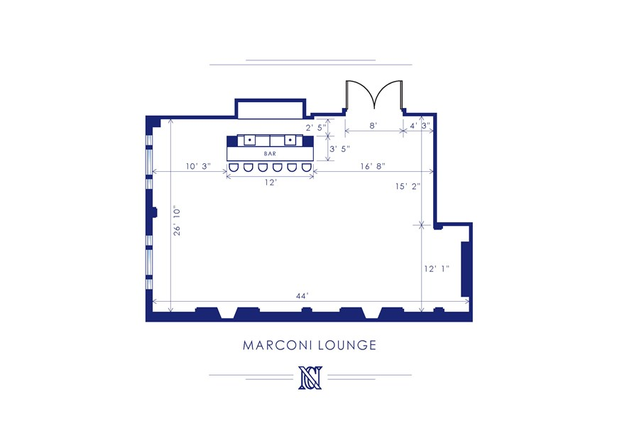 Marconi Lounge for receptions or ceremony